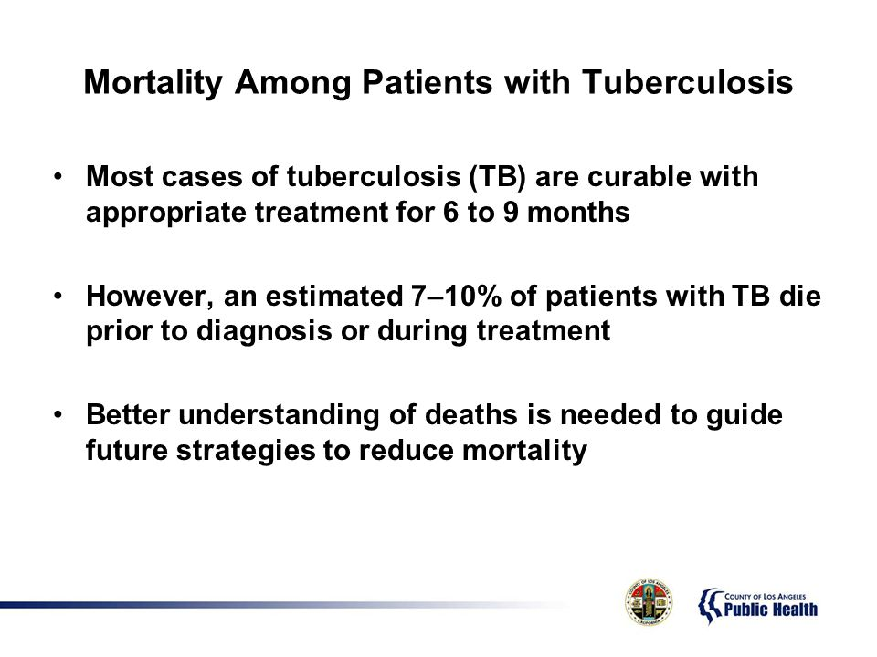 Mortality Among Patients with Tuberculosis Most cases of tuberculosis (TB) are curable with appropriate treatment for 6 to 9 months However, an estimated 7–10% of patients with TB die prior to diagnosis or during treatment Better understanding of deaths is needed to guide future strategies to reduce mortality