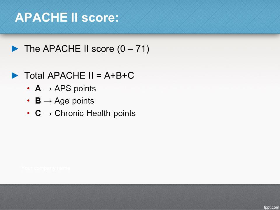 APACHE II score: ►The APACHE II score (0 – 71) ►Total APACHE II = A+B+C A → APS points B → Age points C → Chronic Health points