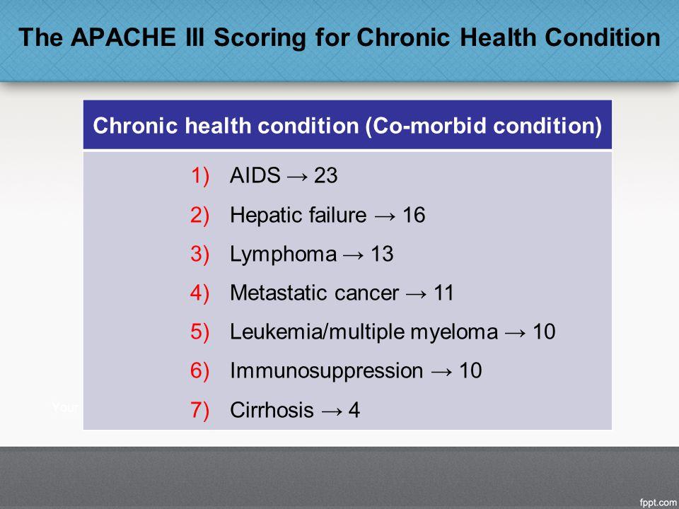 The APACHE III Scoring for Chronic Health Condition Chronic health condition (Co-morbid condition) 1)AIDS → 23 2)Hepatic failure → 16 3)Lymphoma → 13