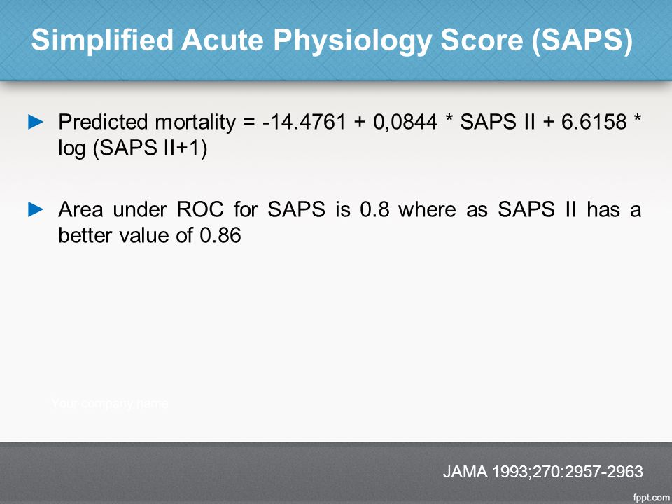 Simplified Acute Physiology Score (SAPS) ►Predicted mortality = -14.4761 + 0,0844 * SAPS II + 6.6158 * log (SAPS II+1) ►Area under ROC for SAPS is 0.8