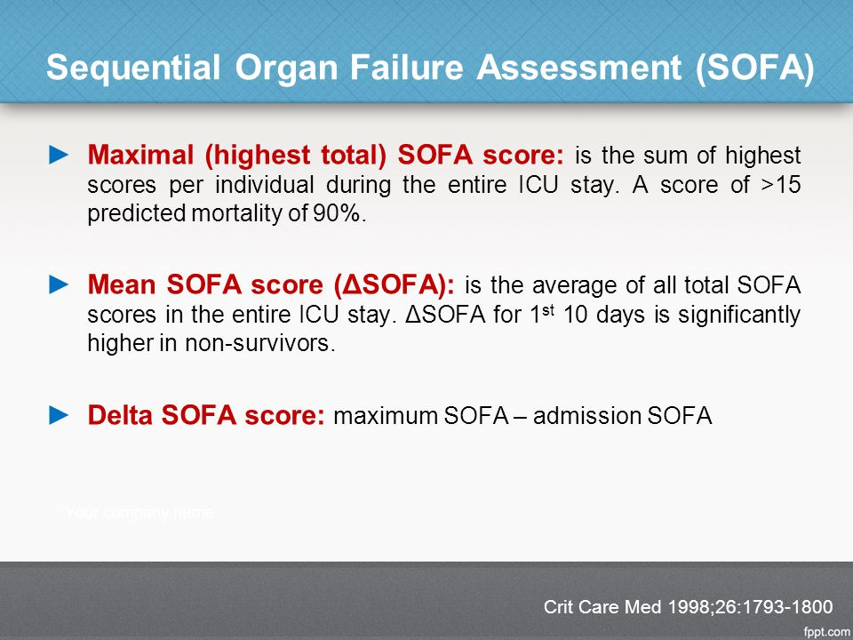 Sequential Organ Failure Assessment (SOFA) ►Maximal (highest total) SOFA score: is the sum of highest scores per individual during the entire ICU stay.