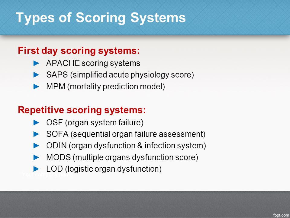 Types of Scoring Systems First day scoring systems: ►APACHE scoring systems ►SAPS (simplified acute physiology score) ►MPM (mortality prediction model