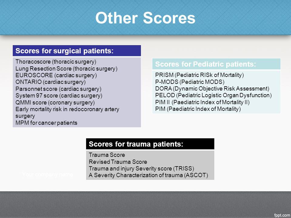 Other Scores Scores for Pediatric patients: PRISM (Pediatric RISk of Mortality) P-MODS (Pediatric MODS) DORA (Dynamic Objective Risk Assessment) PELOD