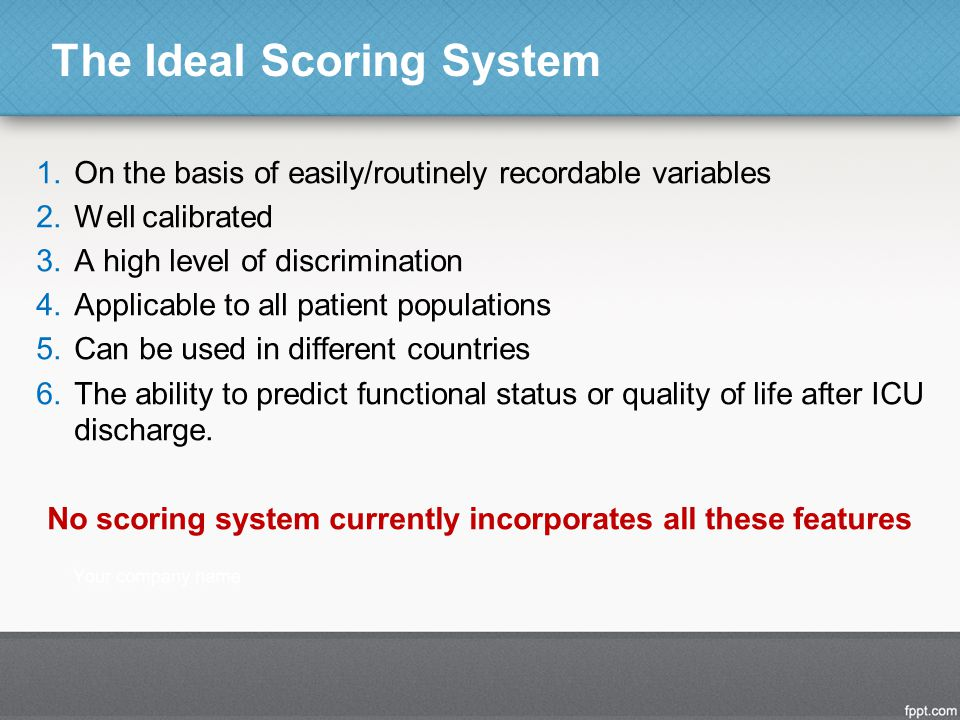 The Ideal Scoring System 1.On the basis of easily/routinely recordable variables 2.Well calibrated 3.A high level of discrimination 4.Applicable to all patient populations 5.Can be used in different countries 6.The ability to predict functional status or quality of life after ICU discharge.
