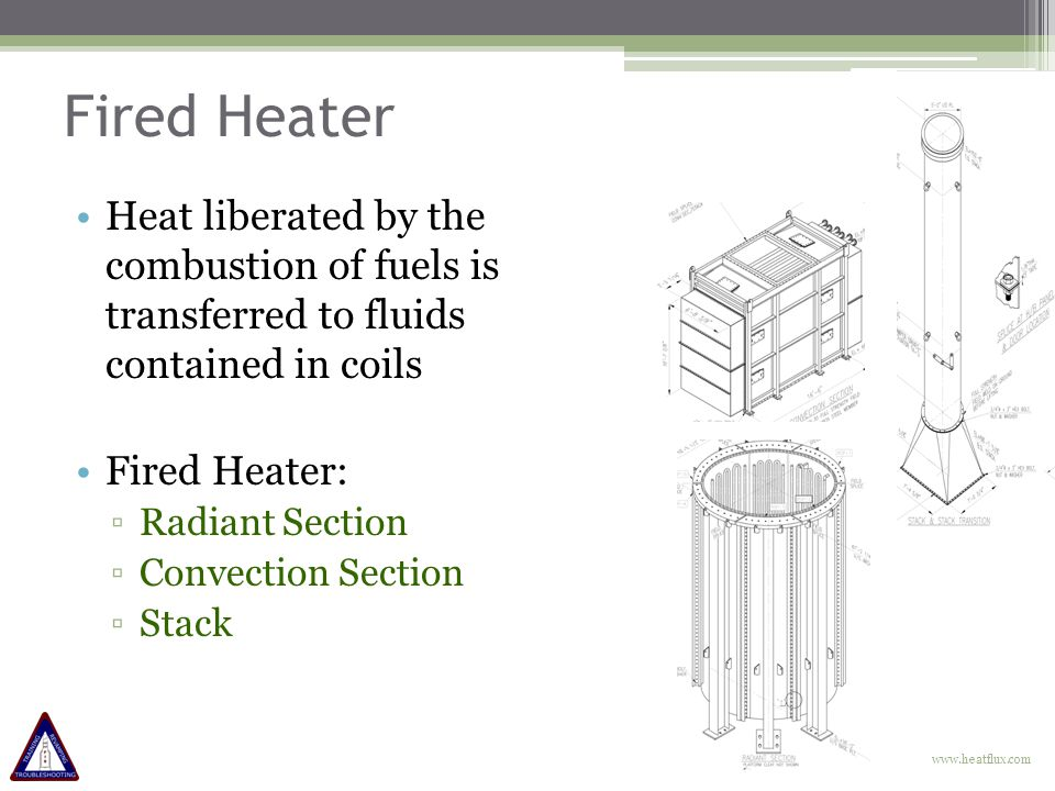 Fired Heater Heat liberated by the combustion of fuels is transferred to fluids contained in coils Fired Heater: ▫Radiant Section ▫Convection Section