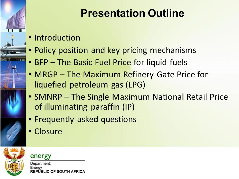 Introduction Three basic forms of fuel pricing globally Ad hoc pricing - Prices set irregularly, No transparency – common in countries that have own oil (highly subsidised) { It is an illusion – keeping the prices constant even when the markets are bullish, hoping that the prices will go down e.g.