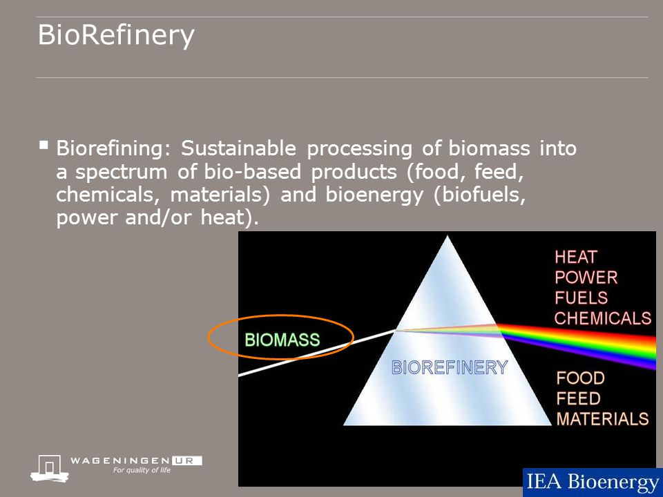 BioRefinery  Biorefining: Sustainable processing of biomass into a spectrum of bio-based products (food, feed, chemicals, materials) and bioenergy (biofuels, power and/or heat).