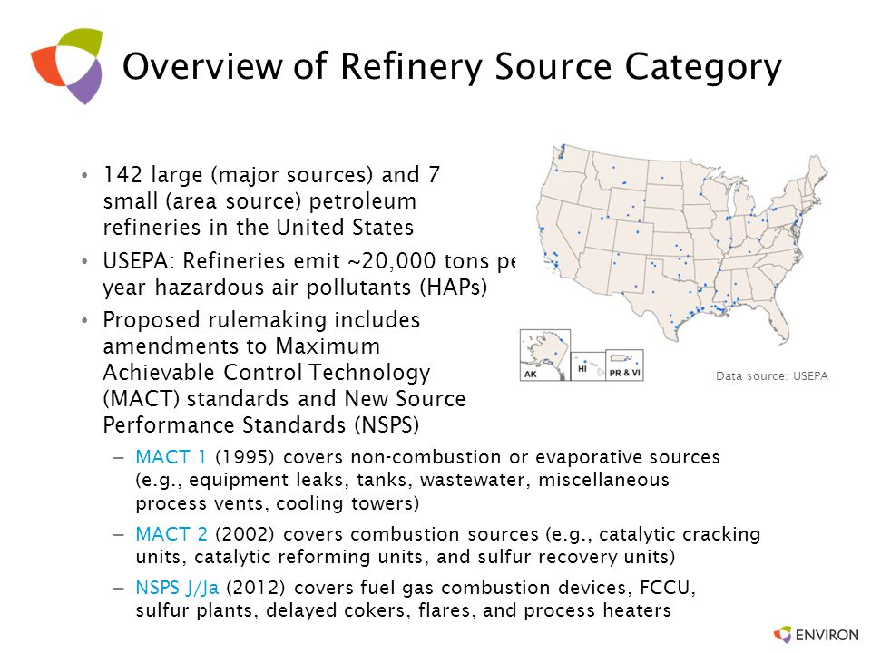 Overview of Proposed Rule Proposal signed by USEPA on May 15, 2014 Emission control requirements for storage tanks, flares, and coking units Monitoring of benzene concentrations at refinery fencelines Eliminate exemptions to emission limits during periods of startup, shutdown, and malfunction Technical corrections and clarifications to the Petroleum Refinery NSPSs
