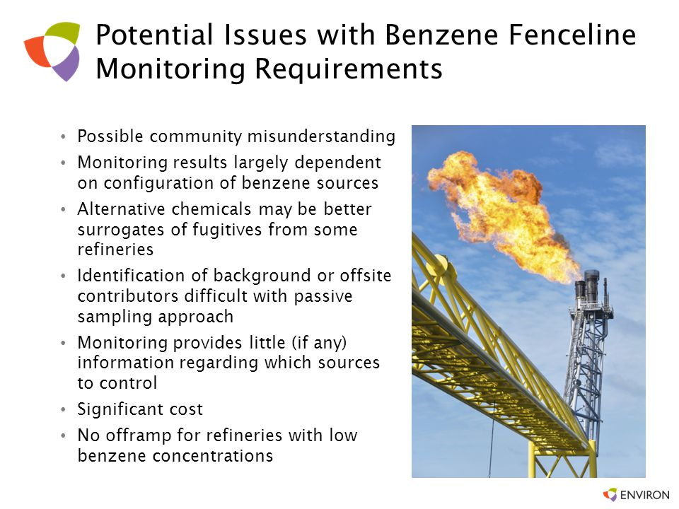 Public Relations Fenceline concentrations are not representative of chronic risks, but some members of the public may misunderstand the data Stated purpose of benzene monitoring is to detect un-reported emissions, but… –Some might attempt to equate benzene concentrations to risks –Data will be publically available