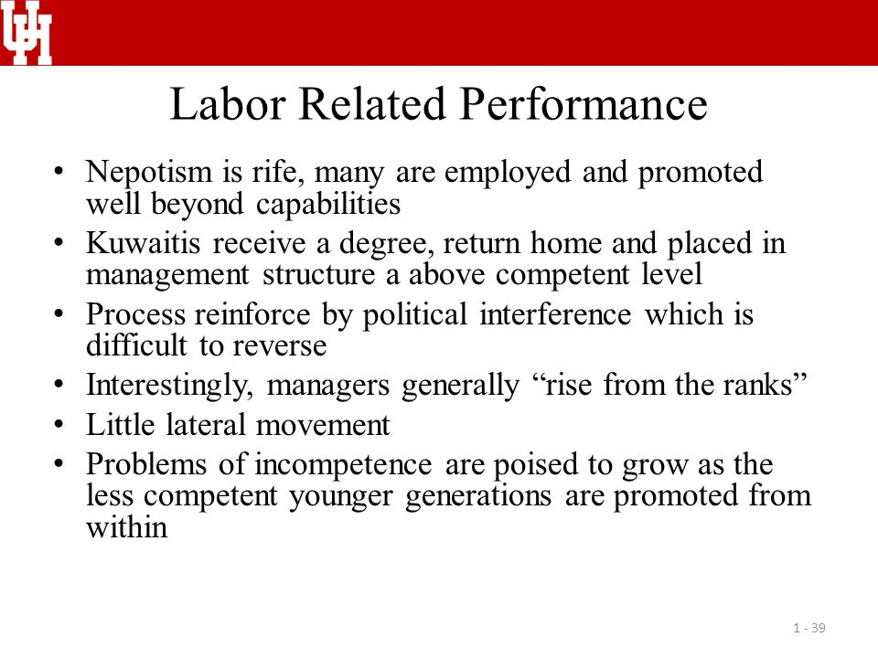 Labor Related Performance Nepotism is rife, many are employed and promoted well beyond capabilities Kuwaitis receive a degree, return home and placed in management structure a above competent level Process reinforce by political interference which is difficult to reverse Interestingly, managers generally rise from the ranks Little lateral movement Problems of incompetence are poised to grow as the less competent younger generations are promoted from within 1 - 39