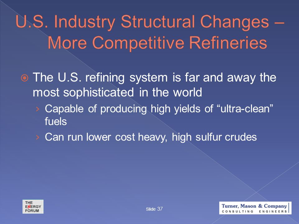 " The U.S. refining system is far and away the most sophisticated in the world › Capable of producing high yields of ""ultra-clean"" fuels › Can run low"
