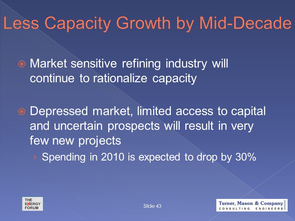  Market sensitive refining industry will continue to rationalize capacity  Depressed market, limited access to capital and uncertain prospects will
