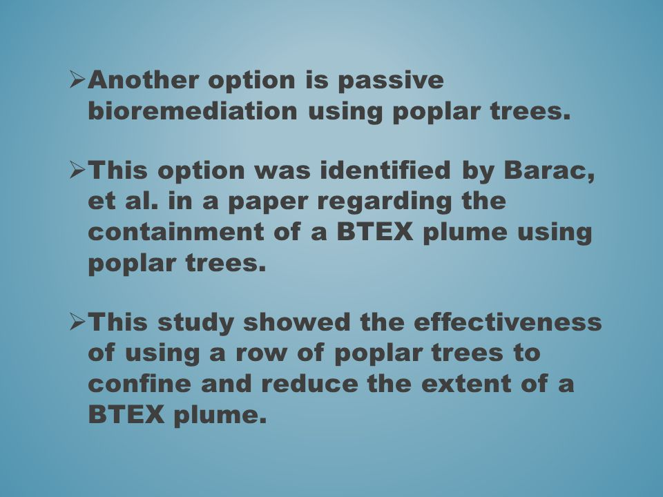  Another option is passive bioremediation using poplar trees.  This option was identified by Barac, et al. in a paper regarding the containment of a