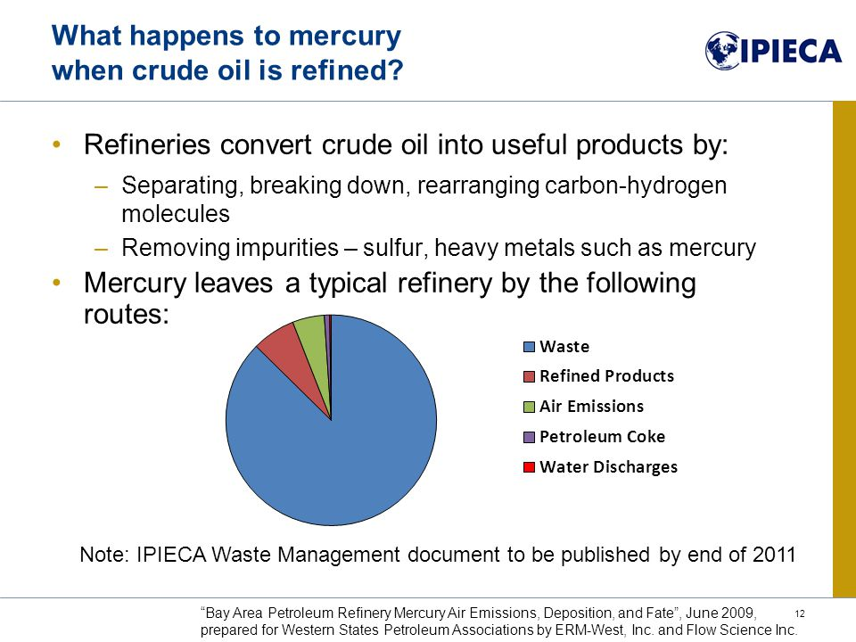 Refineries convert crude oil into useful products by: –Separating, breaking down, rearranging carbon-hydrogen molecules –Removing impurities – sulfur, heavy metals such as mercury Mercury leaves a typical refinery by the following routes: What happens to mercury when crude oil is refined.