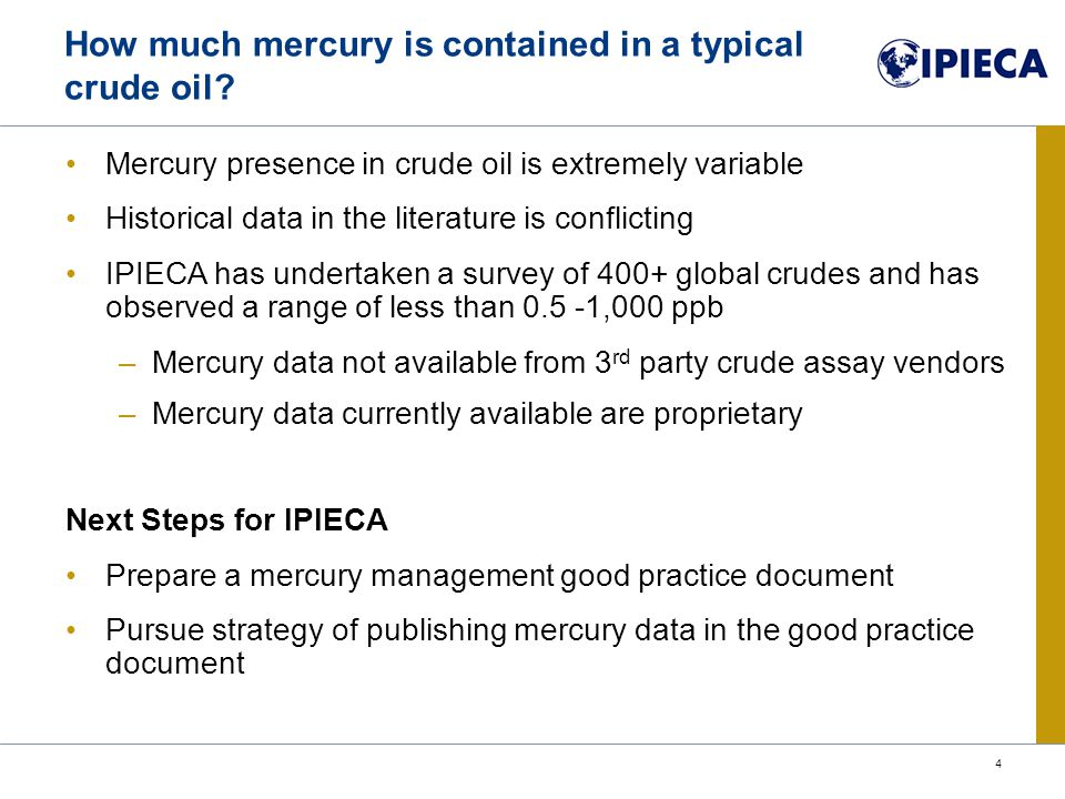How much mercury is contained in a typical crude oil.