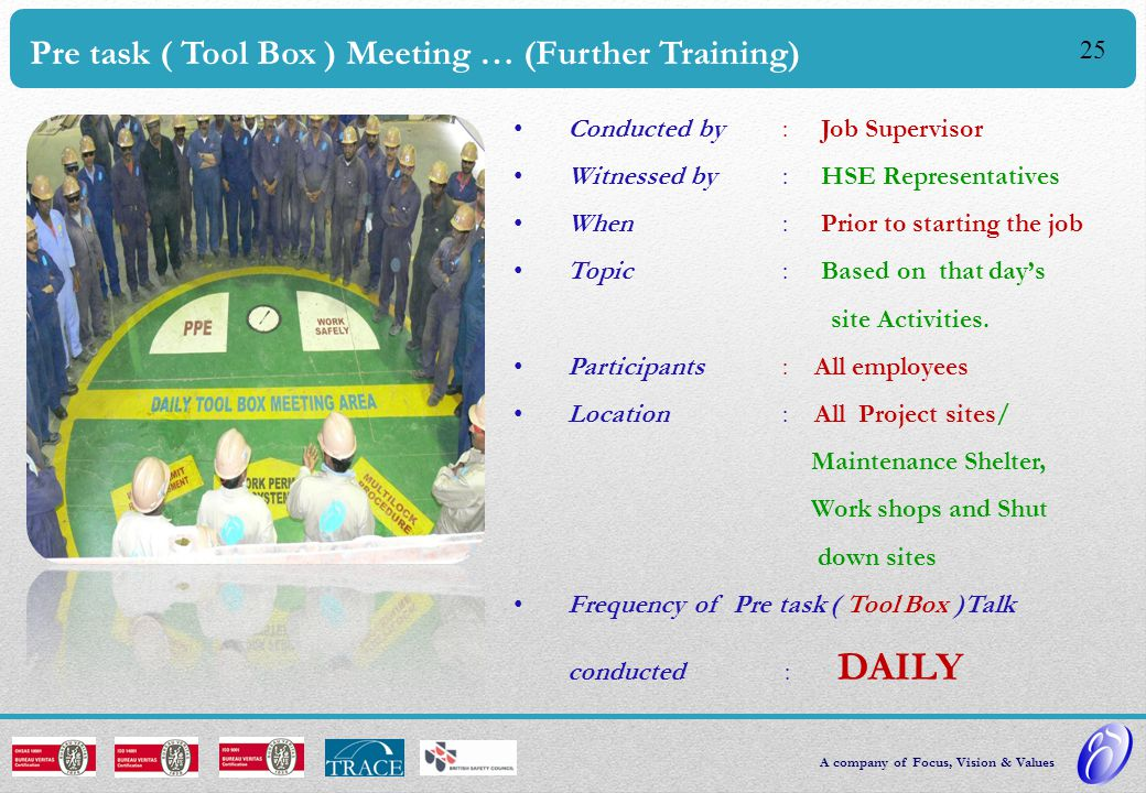 24 Technical Training Identified by Gulf Spic Divisional Engineers Implemented through Technical training Schedule Improving Competency Investing in people Providing Clients with a SAFER workforce.