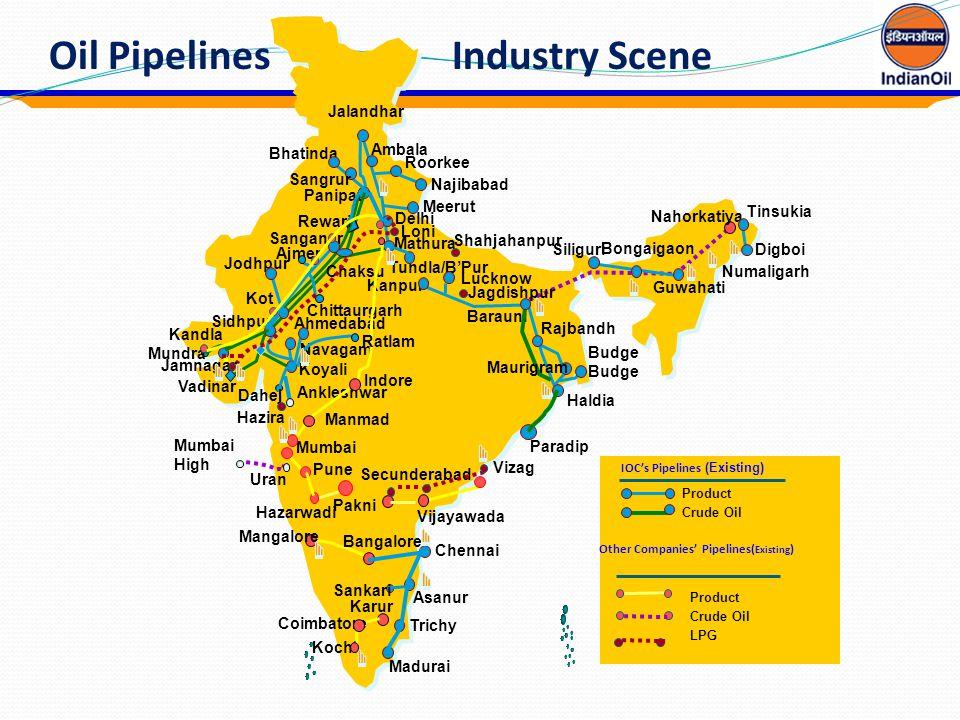 Oil Pipelines Industry Scene Mumbai Vizag Panipat Guwahati Koyali Nahorkatiya Haldia Mathura Manmad Vijayawada Kochi Barauni Kanpur Bhatinda Kandla Va
