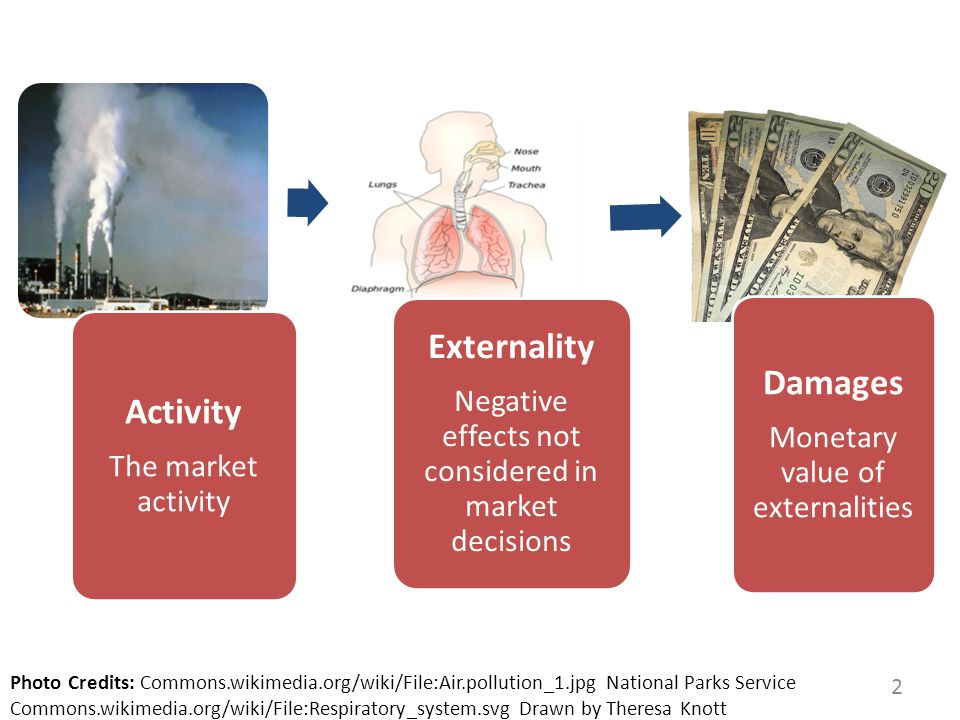 2 Activity The market activity Externality Negative effects not considered in market decisions Damages Monetary value of externalities Photo Credits: Commons.wikimedia.org/wiki/File:Air.pollution_1.jpg National Parks Service Commons.wikimedia.org/wiki/File:Respiratory_system.svg Drawn by Theresa Knott