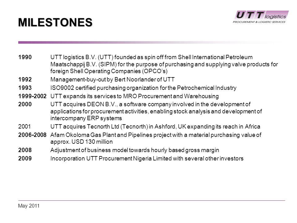 MILESTONES 1990 UTT logistics B.V.