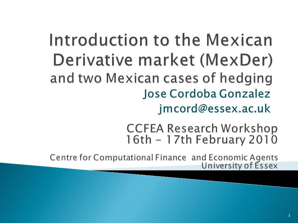 Jose Cordoba Gonzalez jmcord@essex.ac.uk 1