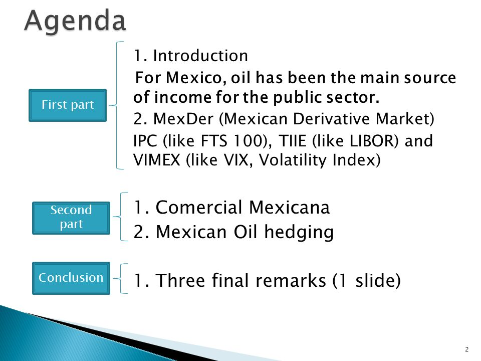 1. Introduction For Mexico, oil has been the main source of income for the public sector.