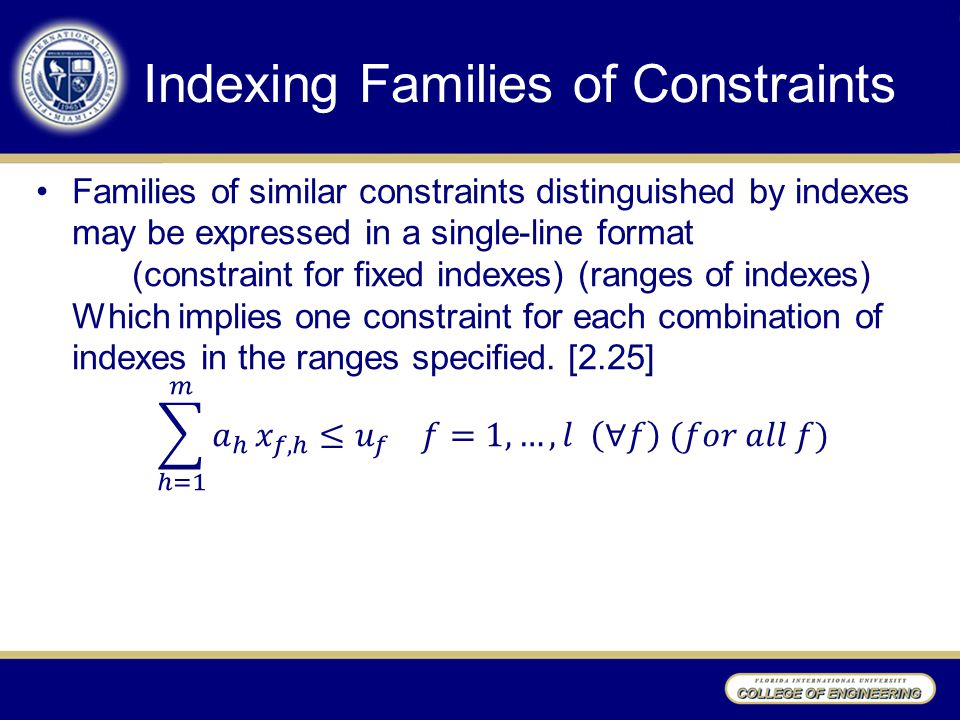 Indexing Families of Constraints