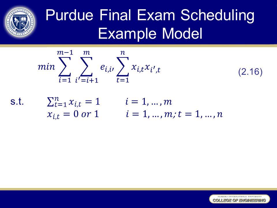 Purdue Final Exam Scheduling Example Model (2.16)