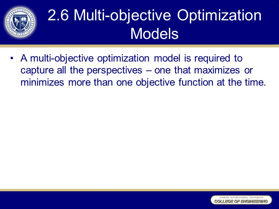 2.6 Multi-objective Optimization Models A multi-objective optimization model is required to capture all the perspectives – one that maximizes or minim