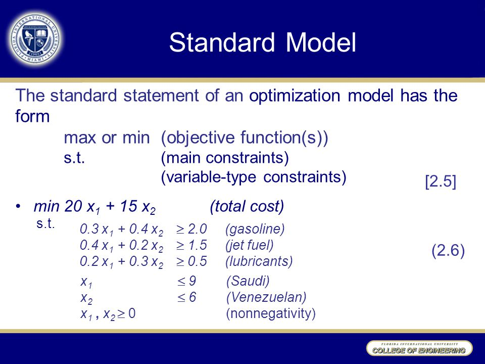 Standard Model The standard statement of an optimization model has the form max or min (objective function(s)) s.t. (main constraints) (variable-type