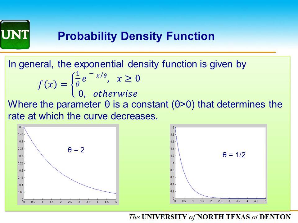 The UNIVERSITY of NORTH CAROLINA at CHAPEL HILL Probability Density Function θ = 2 θ = 1/2
