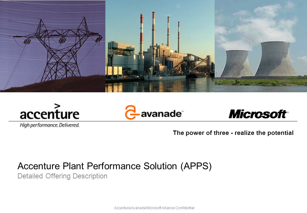 Accenture Plant Performance Solution (APPS) Detailed Offering Description The power of three - realize the potential Accenture/Avanade/Microsoft Allia