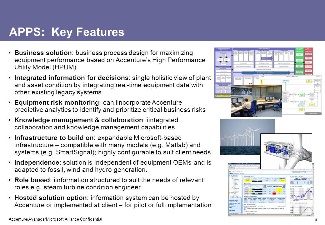 Wind energy scenarios - screenshots 17 Accenture/Avanade/Microsoft Alliance Confidential