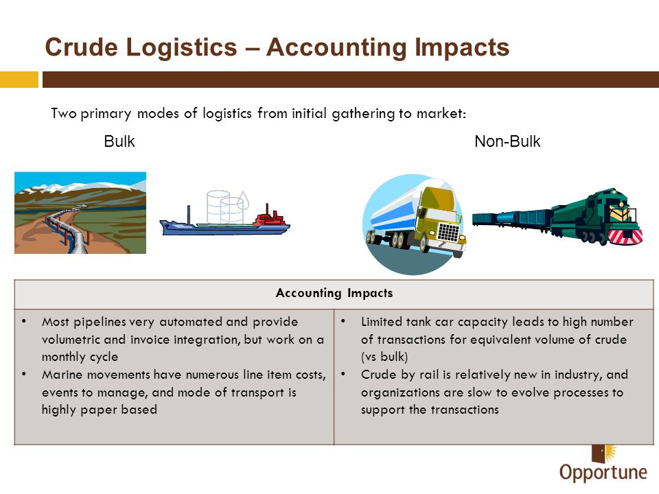 Crude Logistics – Accounting Impacts Two primary modes of logistics from initial gathering to market: BulkNon-Bulk Accounting Impacts Most pipelines v