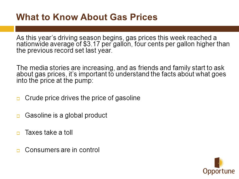 What to Know About Gas Prices As this year's driving season begins, gas prices this week reached a nationwide average of $3.17 per gallon, four cents per gallon higher than the previous record set last year.