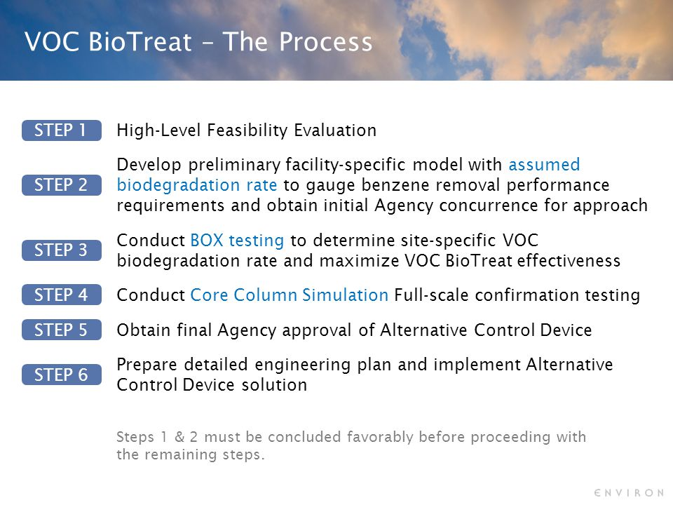 VOC BioTreat – The Process Steps 1 & 2 must be concluded favorably before proceeding with the remaining steps.