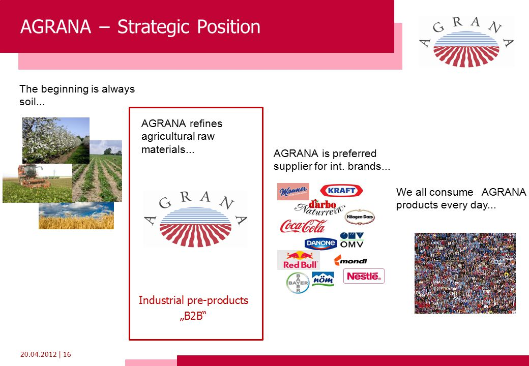 20.04.2012 | 16 The beginning is always soil... AGRANA refines agricultural raw materials...