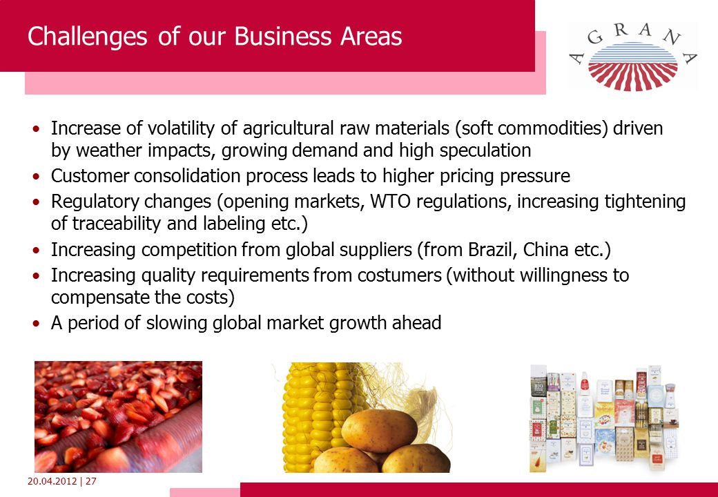 20.04.2012 | 27 Challenges of our Business Areas Increase of volatility of agricultural raw materials (soft commodities) driven by weather impacts, growing demand and high speculation Customer consolidation process leads to higher pricing pressure Regulatory changes (opening markets, WTO regulations, increasing tightening of traceability and labeling etc.) Increasing competition from global suppliers (from Brazil, China etc.) Increasing quality requirements from costumers (without willingness to compensate the costs) A period of slowing global market growth ahead