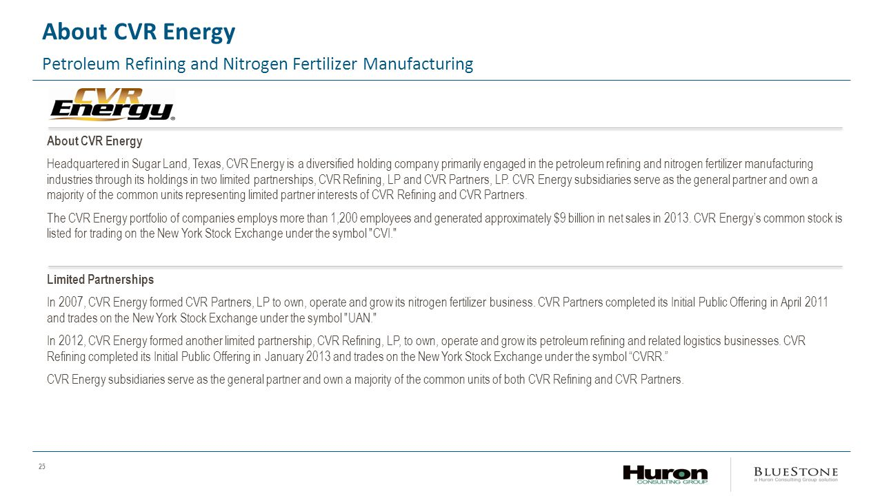 25 About CVR Energy Petroleum Refining and Nitrogen Fertilizer Manufacturing About CVR Energy Headquartered in Sugar Land, Texas, CVR Energy is a diversified holding company primarily engaged in the petroleum refining and nitrogen fertilizer manufacturing industries through its holdings in two limited partnerships, CVR Refining, LP and CVR Partners, LP.
