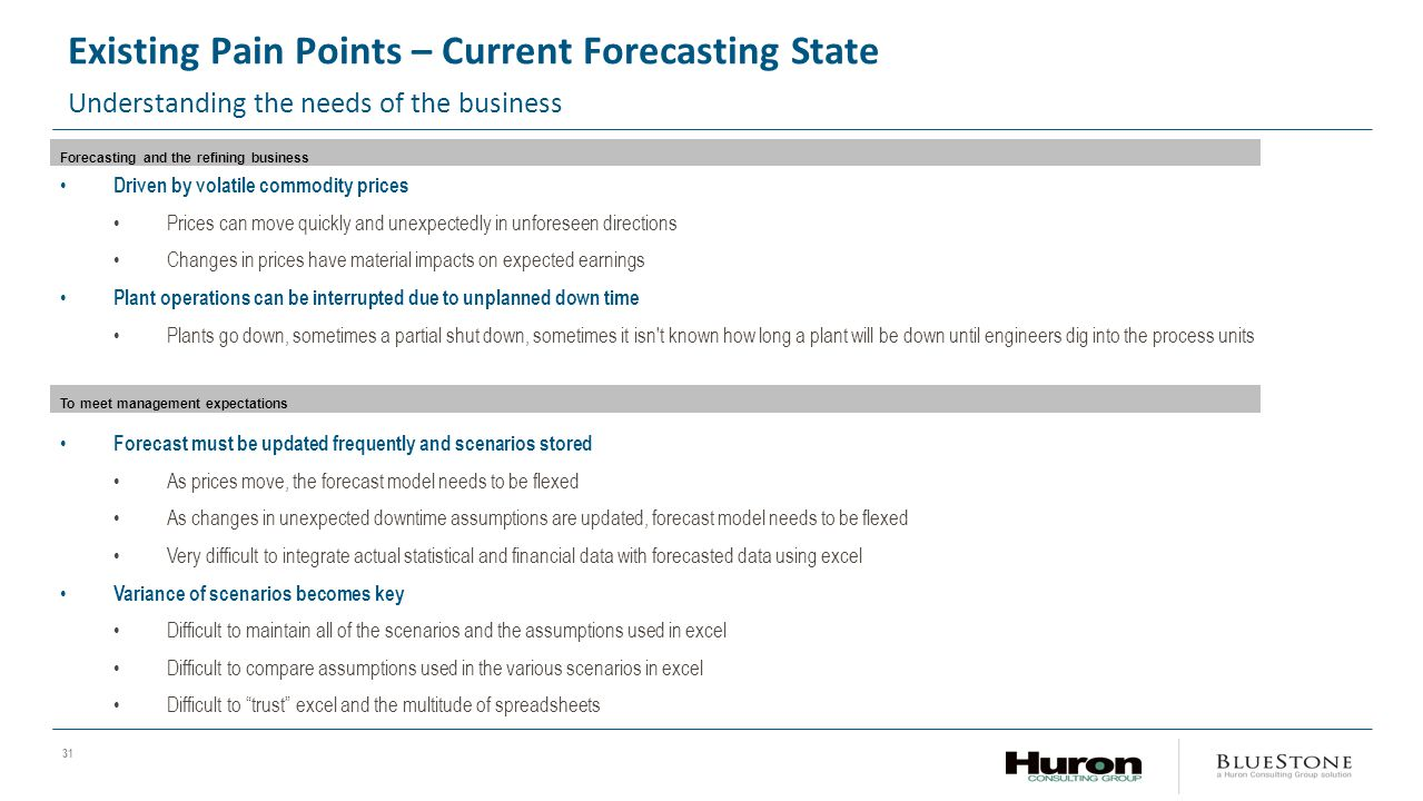 31 Existing Pain Points – Current Forecasting State Understanding the needs of the business Forecasting and the refining business Driven by volatile commodity prices Prices can move quickly and unexpectedly in unforeseen directions Changes in prices have material impacts on expected earnings Plant operations can be interrupted due to unplanned down time Plants go down, sometimes a partial shut down, sometimes it isn t known how long a plant will be down until engineers dig into the process units To meet management expectations Forecast must be updated frequently and scenarios stored As prices move, the forecast model needs to be flexed As changes in unexpected downtime assumptions are updated, forecast model needs to be flexed Very difficult to integrate actual statistical and financial data with forecasted data using excel Variance of scenarios becomes key Difficult to maintain all of the scenarios and the assumptions used in excel Difficult to compare assumptions used in the various scenarios in excel Difficult to trust excel and the multitude of spreadsheets