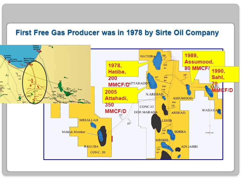 First Free Gas Producer was in 1978 by Sirte Oil Company 1978, Hatiba, 200 MMCF/D 1989, Assumood, 80 MMCF/D 1990, Sahl, 70 MMCF/D 2005 Attahadi, 350 M