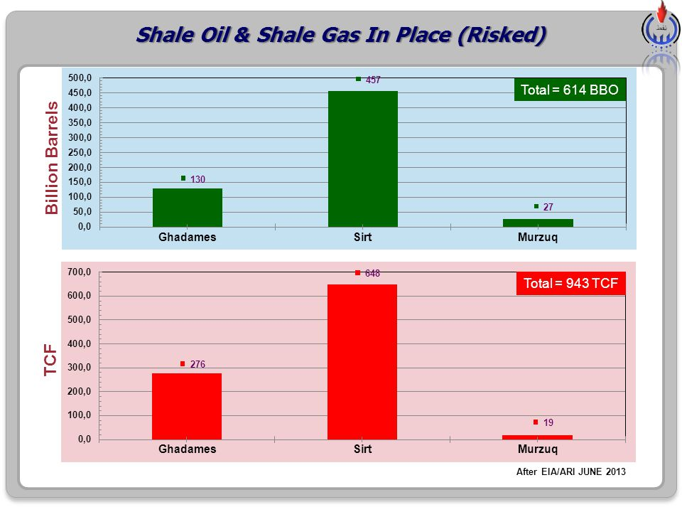 Shale Oil & Shale Gas In Place (Risked) Billion Barrels TCF After EIA/ARI JUNE 2013 Total = 614 BBO Total = 943 TCF