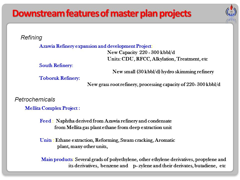 Downstream features of master plan projects Refining Azawia Refinery expansion and development Project: New Capacity 220 - 300 kbbl/d Units: CDU, RFCC