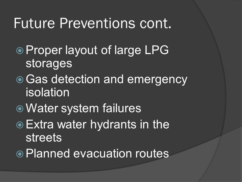 Future Preventions cont.