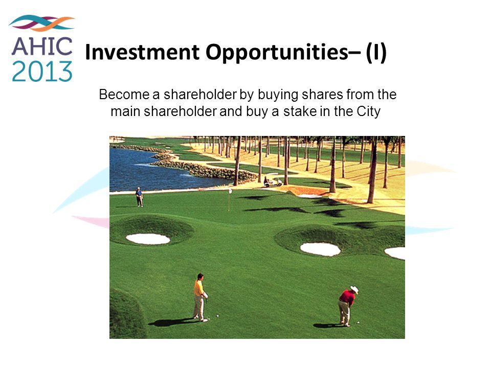 Investment Opportunities– (I) Become a shareholder by buying shares from the main shareholder and buy a stake in the City
