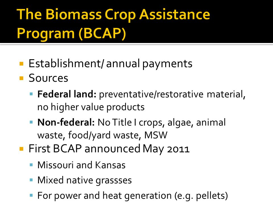  Establishment/ annual payments  Sources  Federal land: preventative/restorative material, no higher value products  Non-federal: No Title I crops, algae, animal waste, food/yard waste, MSW  First BCAP announced May 2011  Missouri and Kansas  Mixed native grassses  For power and heat generation (e.g.