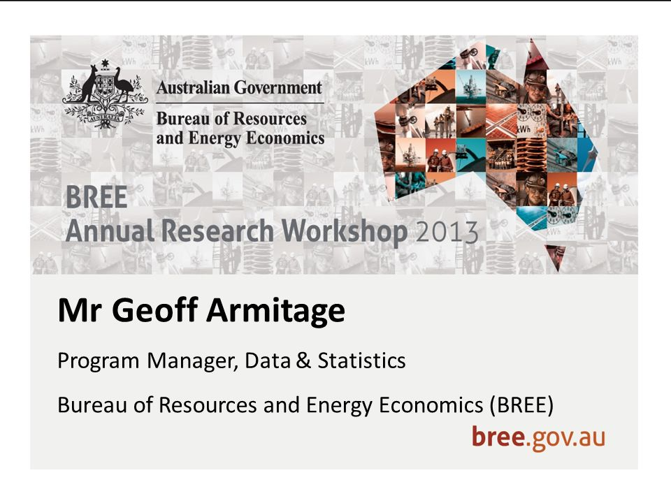 Mr Geoff Armitage Program Manager, Data & Statistics Bureau of Resources and Energy Economics (BREE)