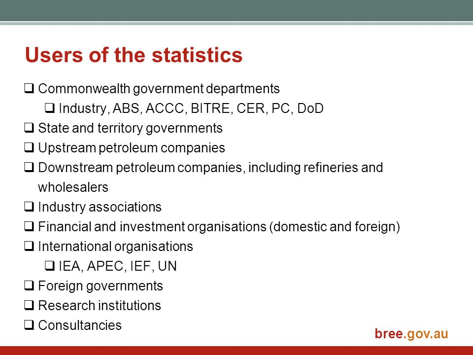 bree.gov.au  All petroleum liquid fuels and gases produced inland and offshore Australia.