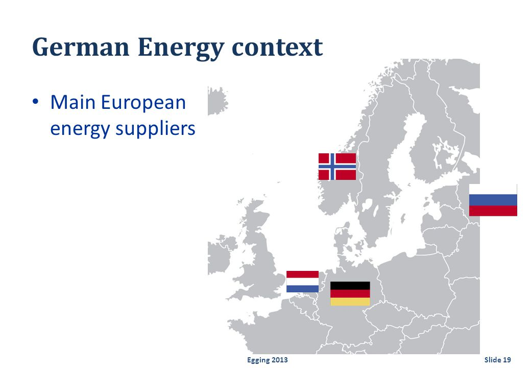 German Energy context Main European energy suppliers Egging 2013Slide 19