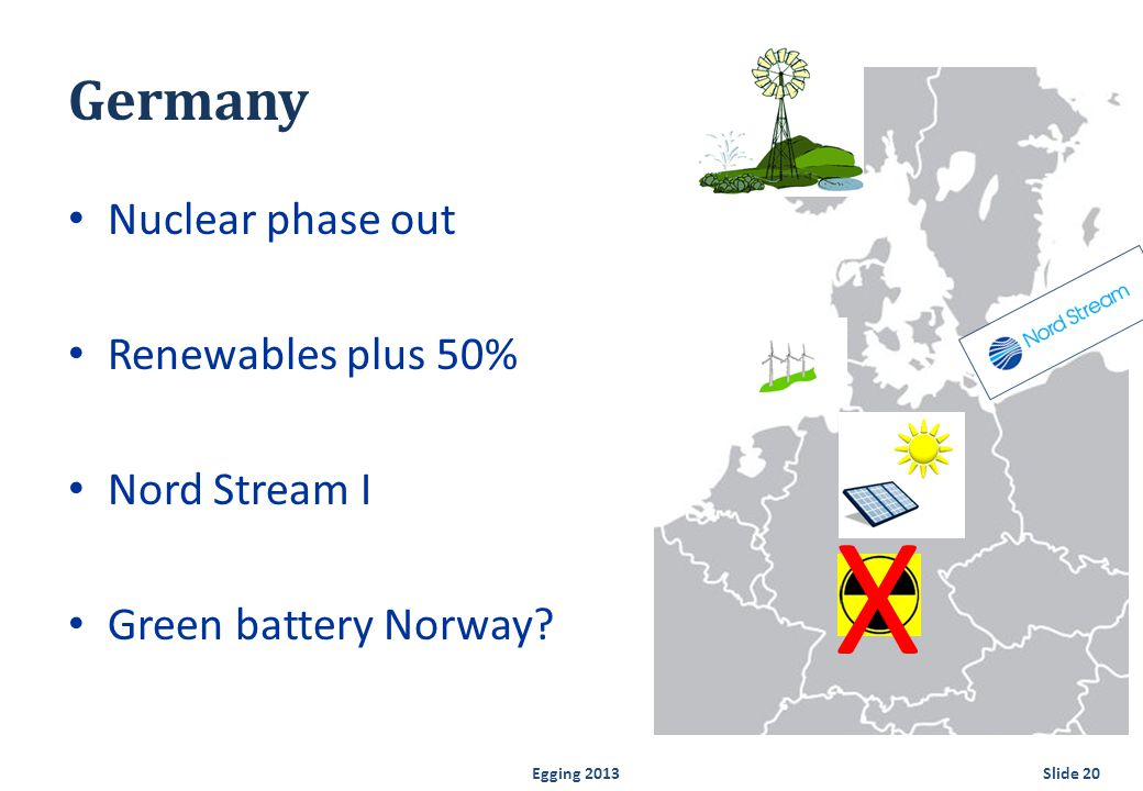 Germany Nuclear phase out Renewables plus 50% Nord Stream I Green battery Norway.
