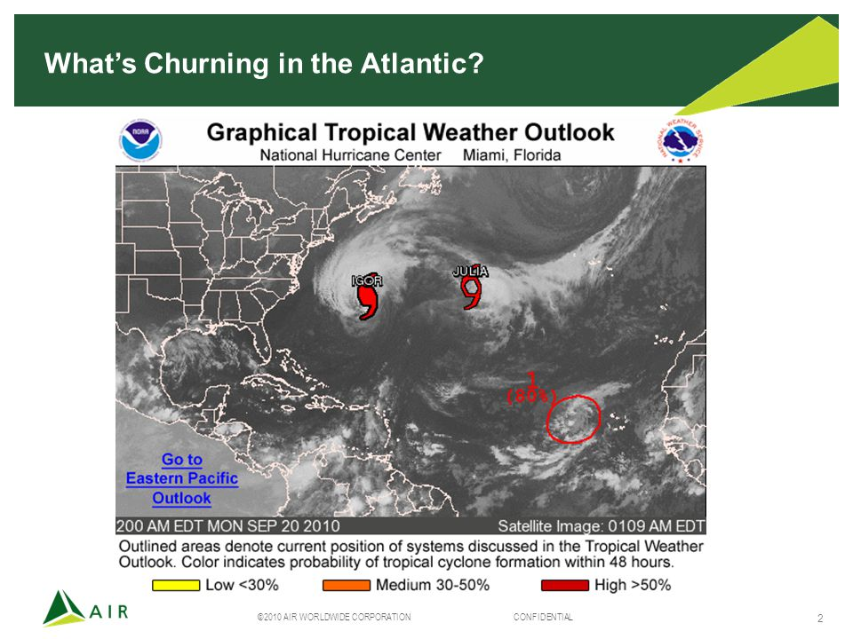 ©2010 AIR WORLDWIDE CORPORATION CONFIDENTIAL 2 What's Churning in the Atlantic?